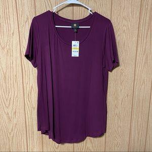 JM Collections Purple Short Sleeve Tee